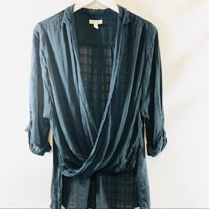Anthropologie Silence + Noise front wrap top sz S
